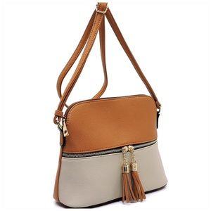 Tan Stone Tassel Zip Dome Crossbody Bag Satchel